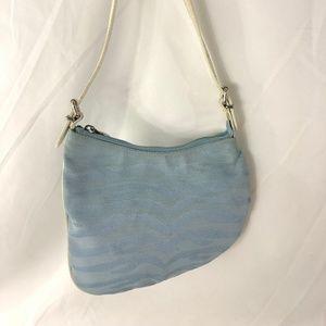 FENDI Blue Cotton White Leather Trim Oyster Bag